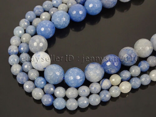Natural Blue Aventurine Gemstone Faceted Round Beads 15