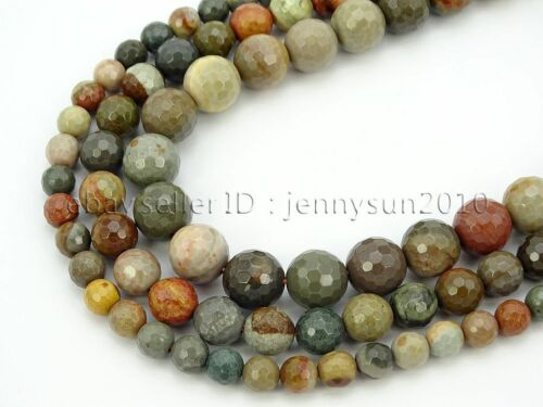 Natural Polychrome Jasper Gemstone Faceted Round Spacer Beads 15