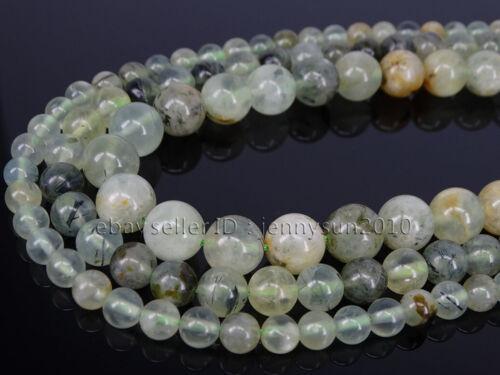 Natural Crystal Green Actinolite Quartz Gemstone Round Beads 15.5