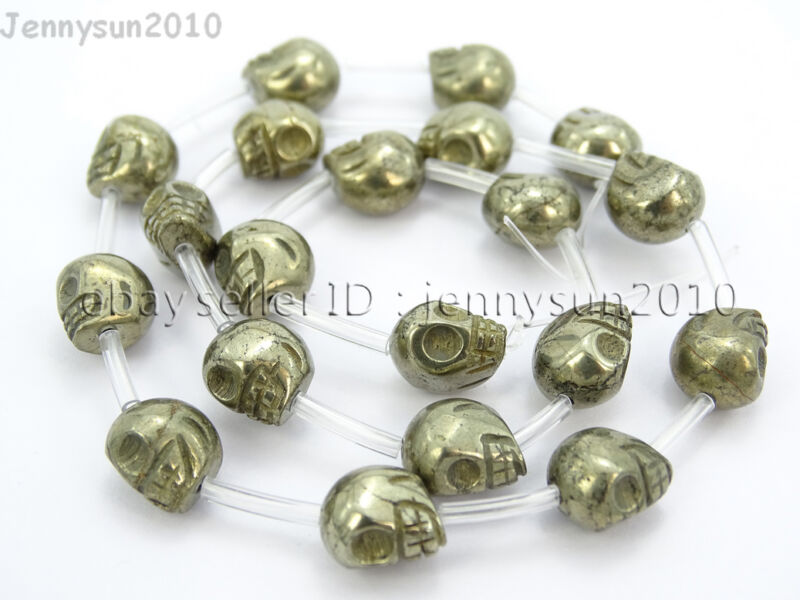 Natural Pyrite Gemstone Hand Carved Skull Loose Beads 16