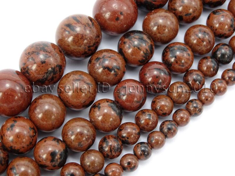 Natural Mahogany Obsidian Gemstone Round Beads 15.5