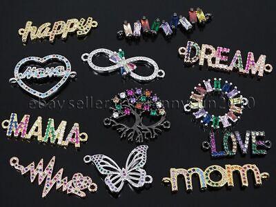 Multi Colored Gemstone Charm (Multi-Colored Zircon Gemstones Pave Various Bracelet Connector Charm Beads)