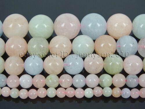 Natural Colorful Morganite Gemstone Round Beads 15.5