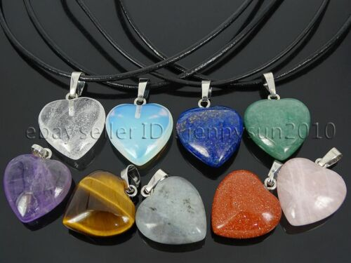 Natural Gemstone Heart Reiki Chakra Pendant Charms Silver Plated 20mm Crystal