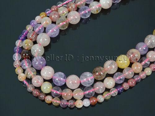 Mixed Natural Quartz Gemstone Round Beads 15.5