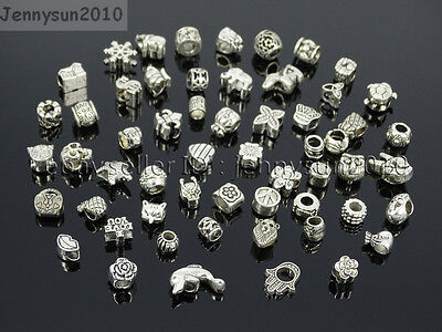 Tibetan Silver Big Hole Connector Metal Spacer European Charm Beads Findings #2 Beads Finding 2 Hole