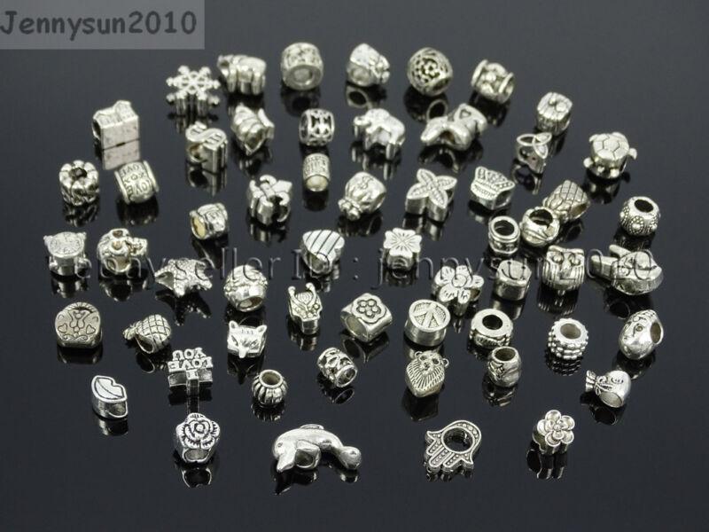 Tibetan Silver Big Hole Connector Metal Spacer European Charm Beads Findings #2