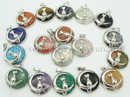 Natural Gemstone Cat and Moon Round Reiki Chakra Pendant Charms Silver Plated