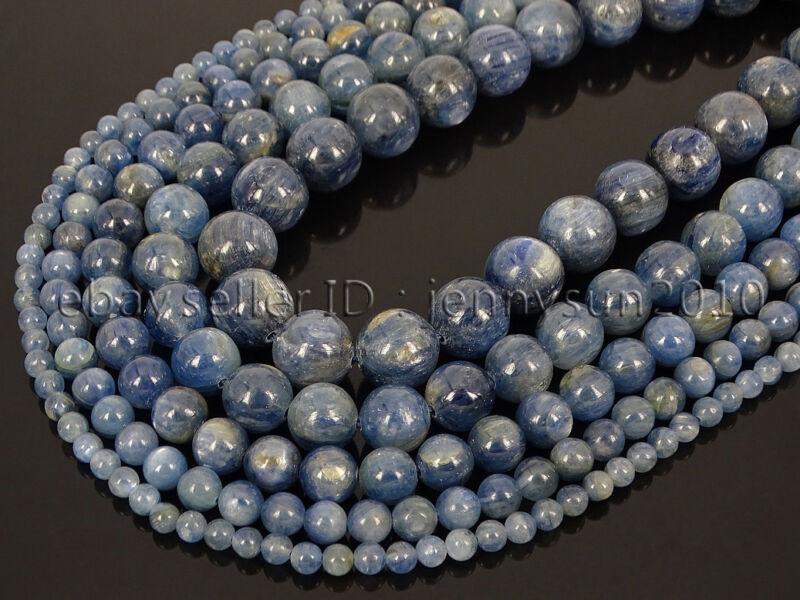 Natural Kyanite Gemstone Round Loose Spacer Beads 15