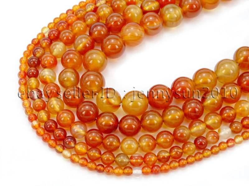Red Carnelian Natural Agate Gemstone Round Beads 15.5