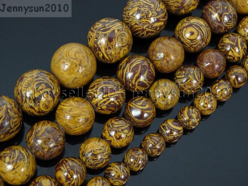 "Natural Elephant Skin Jasper Gemstone Round Beads 15.5"" 6mm 8mm 10mm 12mm"