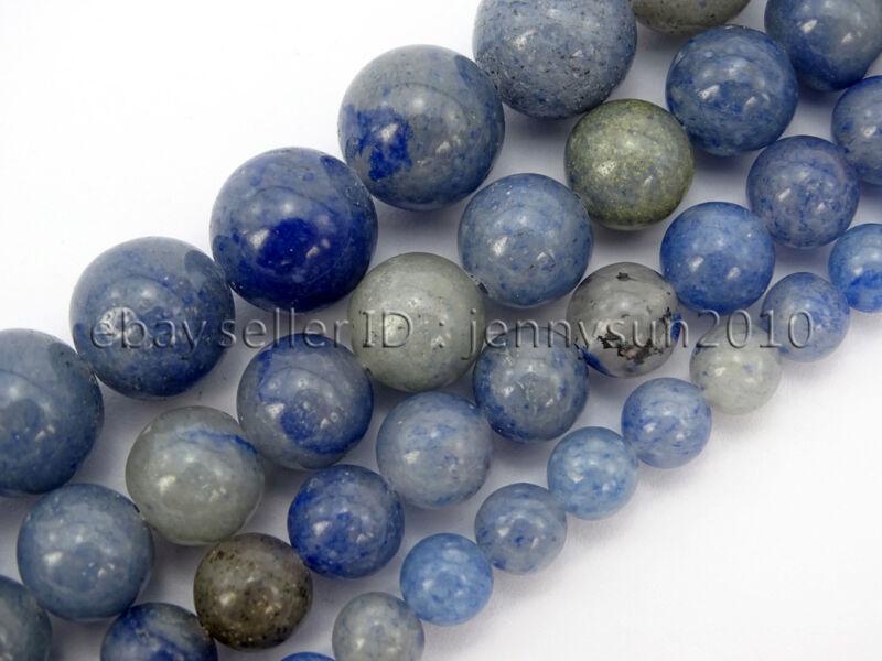 Natural Blue Aventurine Gemstone Round Loose Beads 15