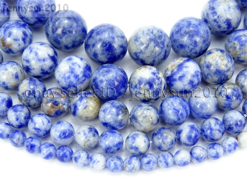Natural Blue Spot Jasper Gemstone Round Beads 16
