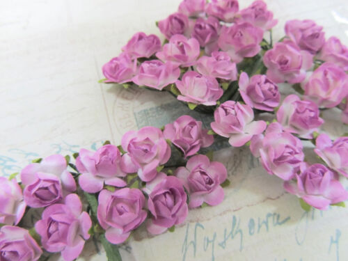 144 Mulberry Paper Rose Flower/Wire/decoration/bouquet/craft H420-Lavender/White