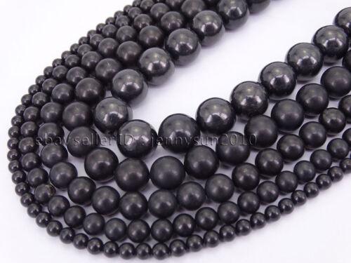 Natural Shungite Gemstone Round Spacer Loose Beads 15.5
