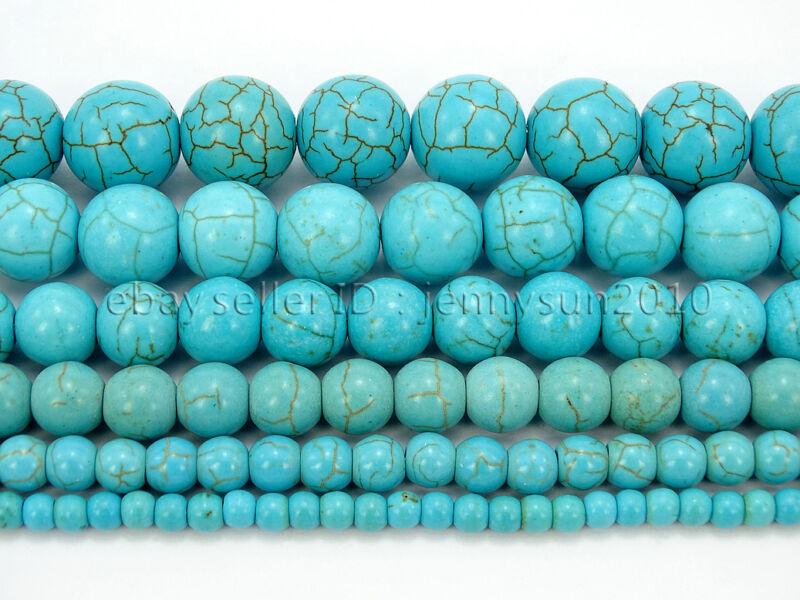 Howlite Turquoise Gemstone Round Loose Beads 15