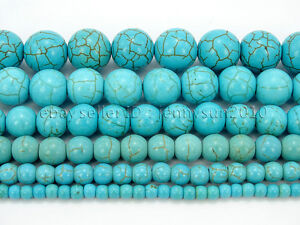 Howlite-Turquoise-Gemstone-Round-Loose-Beads-15-039-039-4mm-6mm-8mm-10mm-12mm-14mm