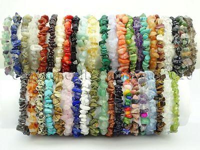 Natural Gemstone 5-8mm Chip Beads Stretchy Bracelet Healing Reiki -