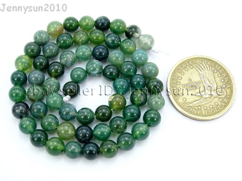 Natural Green Moss Agate Gemstone Round Beads 15'' Strand 4mm 6mm 8mm 10mm 12mm  6mm