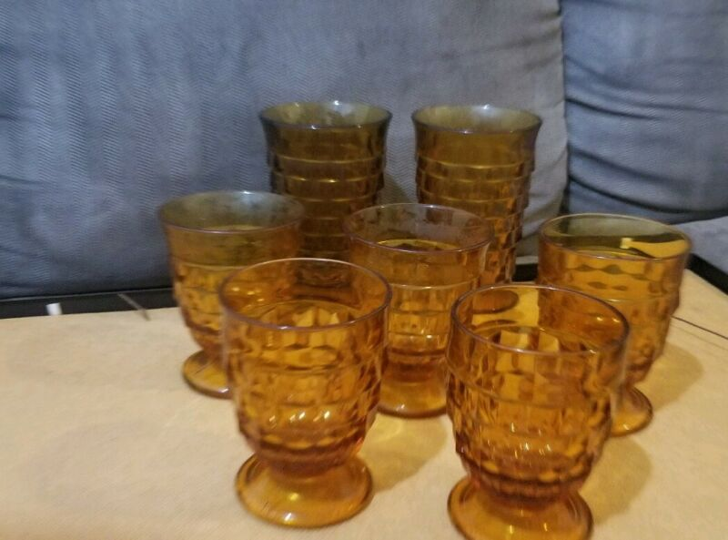 Mix Lot Of Amber Fostoria pedestal And Goblets