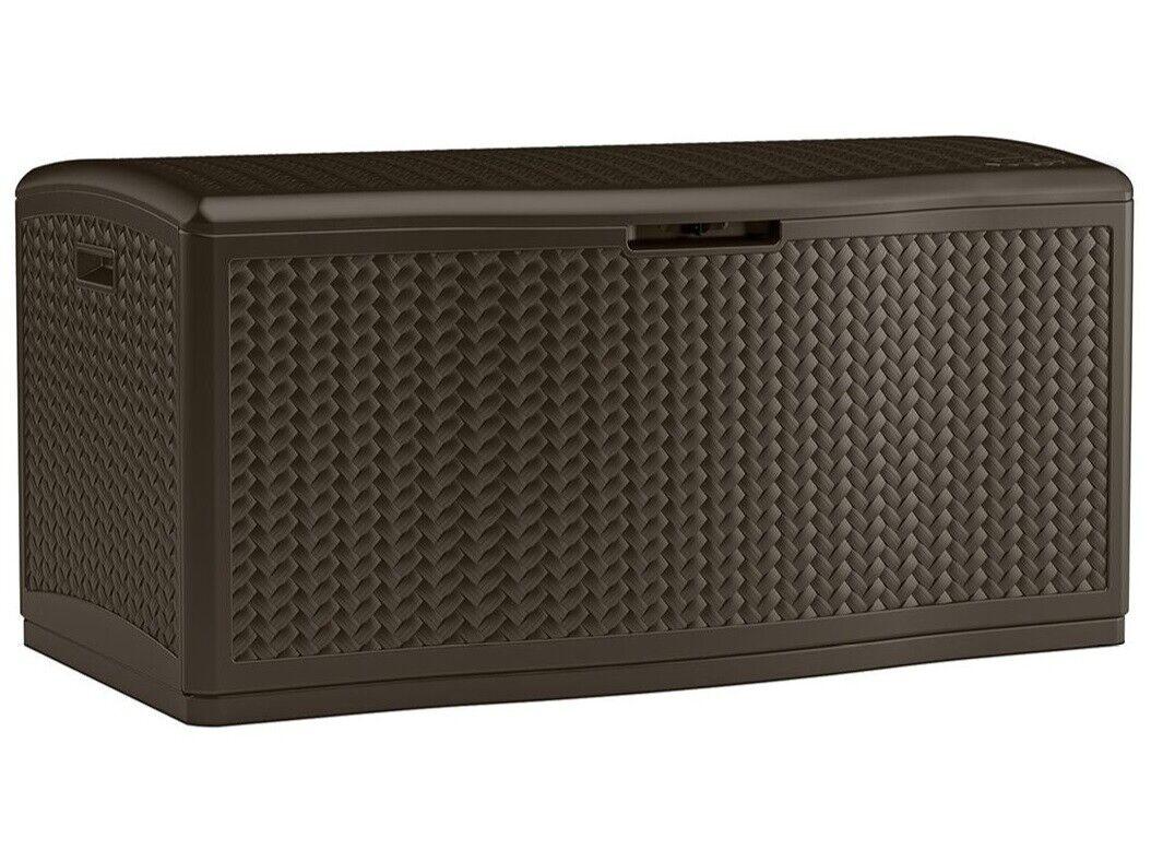 80-Gal Outdoor Storage Box Resin Wicker Deck Box Lockable Wa