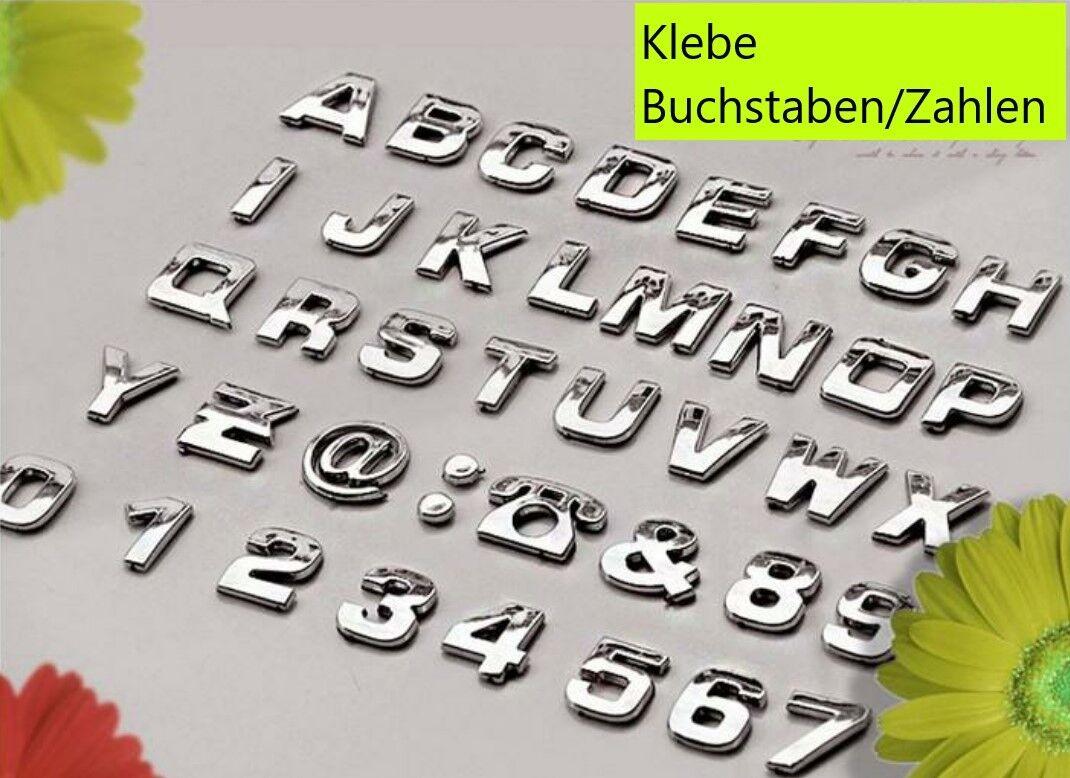 3D Klebe Buchstaben Zahlen Emblem Auto Aufkleber Auto Silber Alphabet Logo