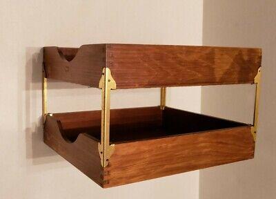 Vintage Hedberg Wood Double Desk Tray Box Paper Document File Organizer Shelf