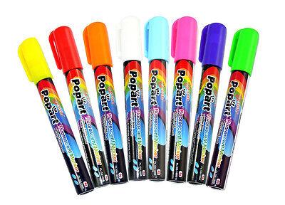 Multi-color Wet Liquid Chalk Neon Fluorescent Marker Pen 8 Colorset