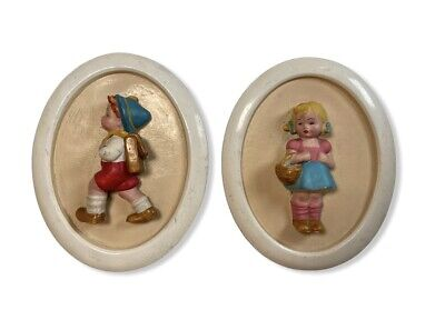 Pair of Vintage Plaster Oval Wall Plaques Nursery Boy Girl Hangings