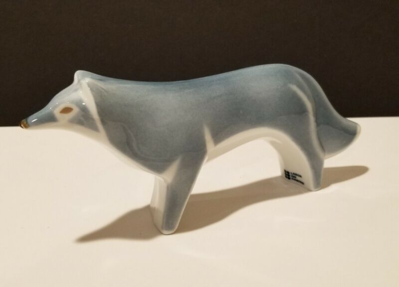 """LABOR DO CASTRO  Porcelain Figurine Bluish Gray WOLF? About 8""""  Rare Collectible"""