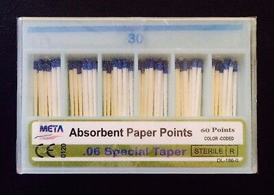 Dental Paper Points .06 Taper 30 10x Of 60pack Total 600pieces -meta