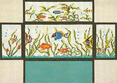 Needle Crossings FISH TANK AQUARIUM Brick Cover handpainted Needlepoint Canvas
