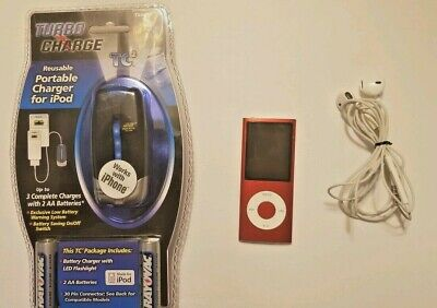 Apple iPod nano 4th Generation PRODUCT RED 8 Gb (Bundle)headphones/battery (Headphones 4 Ipod Nano)