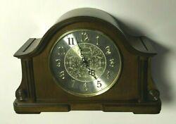 BULOVA B1975 CHADBOURNE OLD WORLD MANTEL QUARTZ CLOCK WALNUT FINISH BRASS MINT