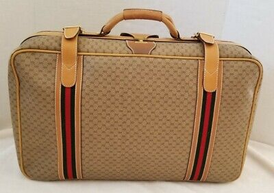 Vintage Authentic Gucci signature Green Red coated canvas/Leather 23 Suitcase GG