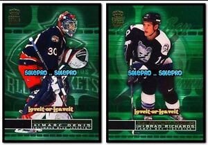 2x-PACIFIC-CROWN-ROYALE-2001-MARC-DENIS-8-NHL-BRAD-RICHARDS-23-ROOKIE-LOT