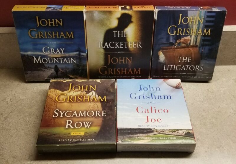 5 JOHN GRISHAM Audiobooks CD Sycamore Row, Racketeer, Gray Mountain, Litigators+