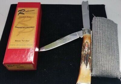 ROBESON POCKETEZE RS19RGS STAG RAZOR TRAPPER KNIFE. 1 of 100