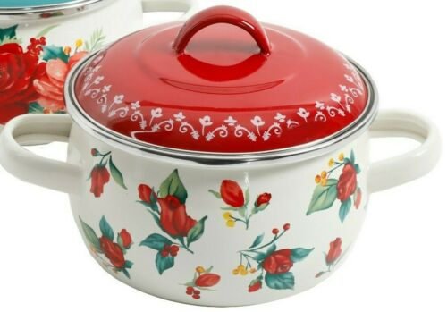 Pioneer Woman Christmas Cheerful Rose Jolly Rosebuds 1 Qt Mini Dutch Oven NEW