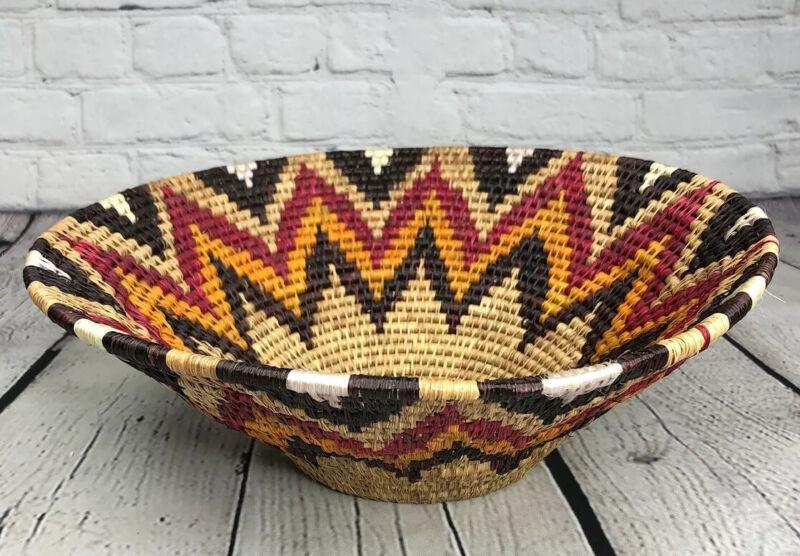 "Lavumisa Grass Basket / Bowl 14"" Wall Ethnic Decor Sunset Colors Hand Woven"