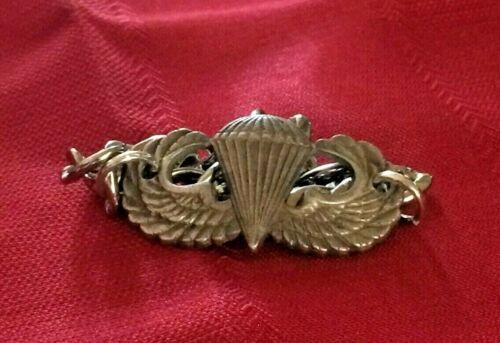 """Vintage Sterling Silver US ARMY Jump Wings ID bracelet 8""""    81"""