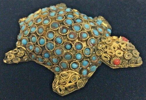 Vintage Tibetan Turquoise Coral Brass Turtle Figurine Filigree Nepalese Antique