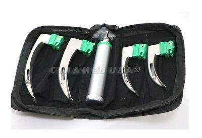 New Fiber Optic Mac Laryngoscope Set Led Light White Set Of 5