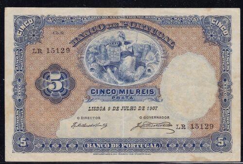 Portugal 5000 Reis 1907 P-83 Fine - Rare banknote