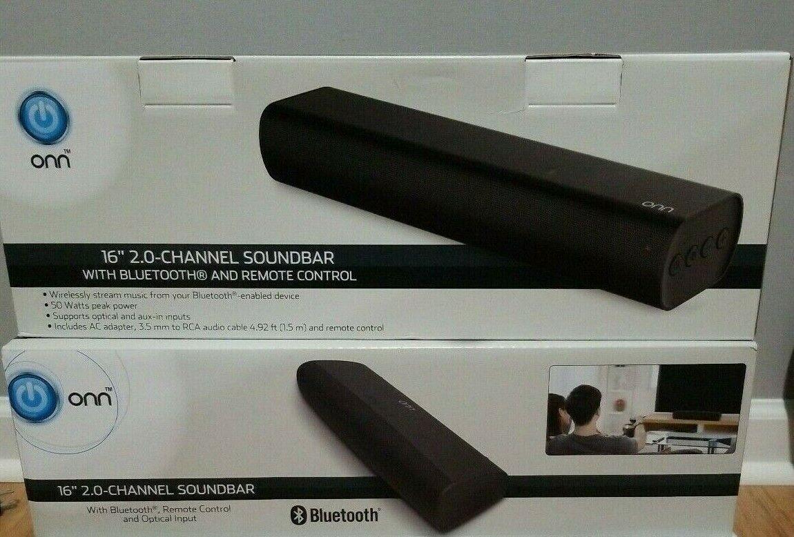 """Onn 2.0 Wireless Mini Soundbar Speaker, 16"""""""