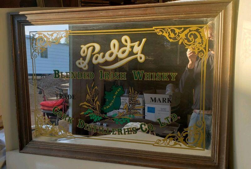 "Old Vintage Paddy Blended Irish Whisky Bar Mirror Sign 29""x40"" Cork Distilleries"