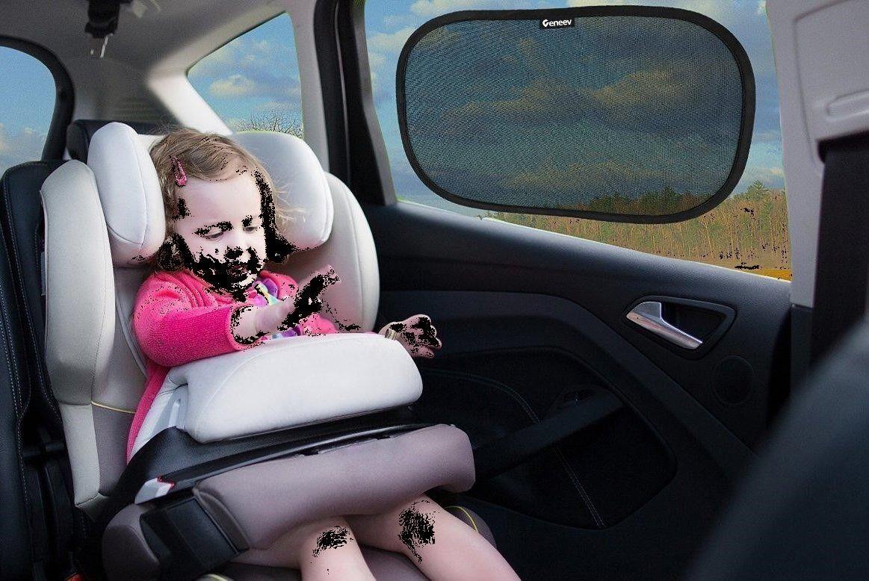 New Set of 2  Car Window Sun Shade Static Cling On  UPF 30+ Sun & UV Protection