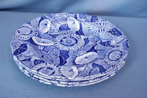 Spode PR Blue Room Transferware Aesthetic Period Sunflower Luncheon Plates 4