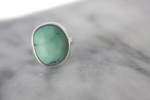 Silver Ring with Oval Natural Turquoise Setting (SIZE O)