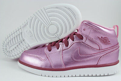 Nike Jordan Girl - NIKE AIR JORDAN 1 MID METALLIC PINK/RED PURPLE RETRO HIGH HI GIRLS KIDS YOUTH SZ